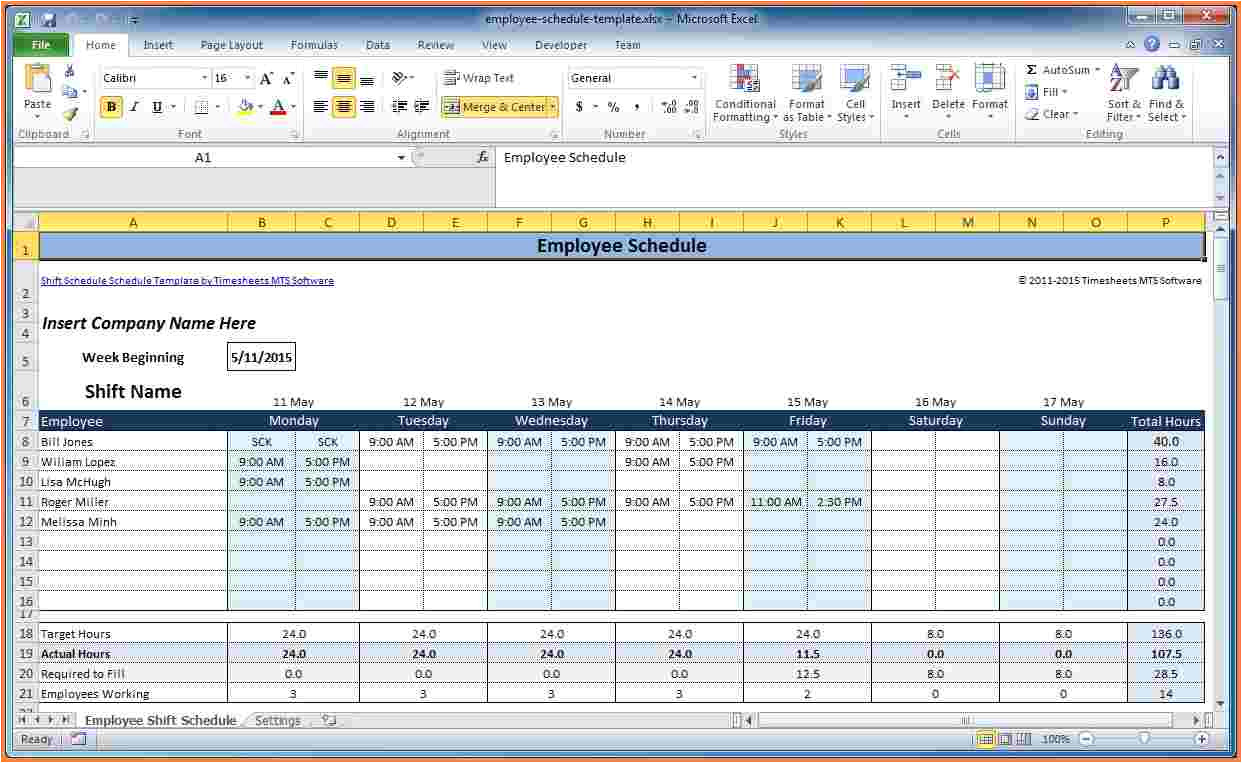 excel templates for scheduling
