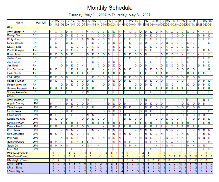 monthly employee schedule template excel 1317