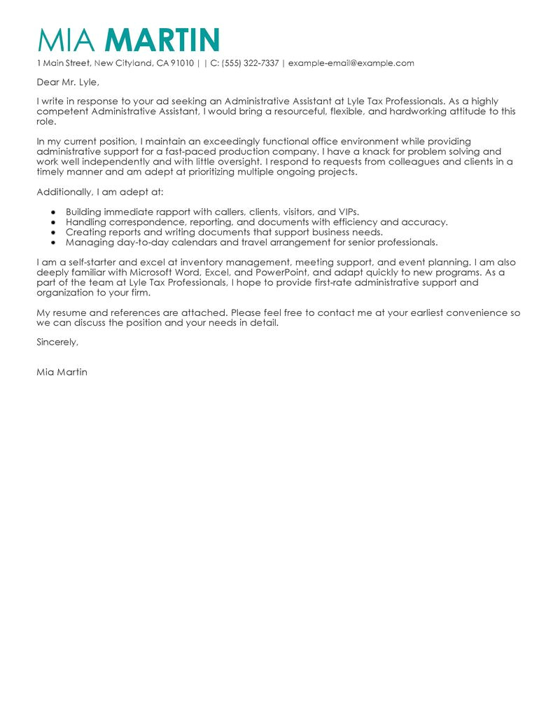 cover letter administrative assistant customer service
