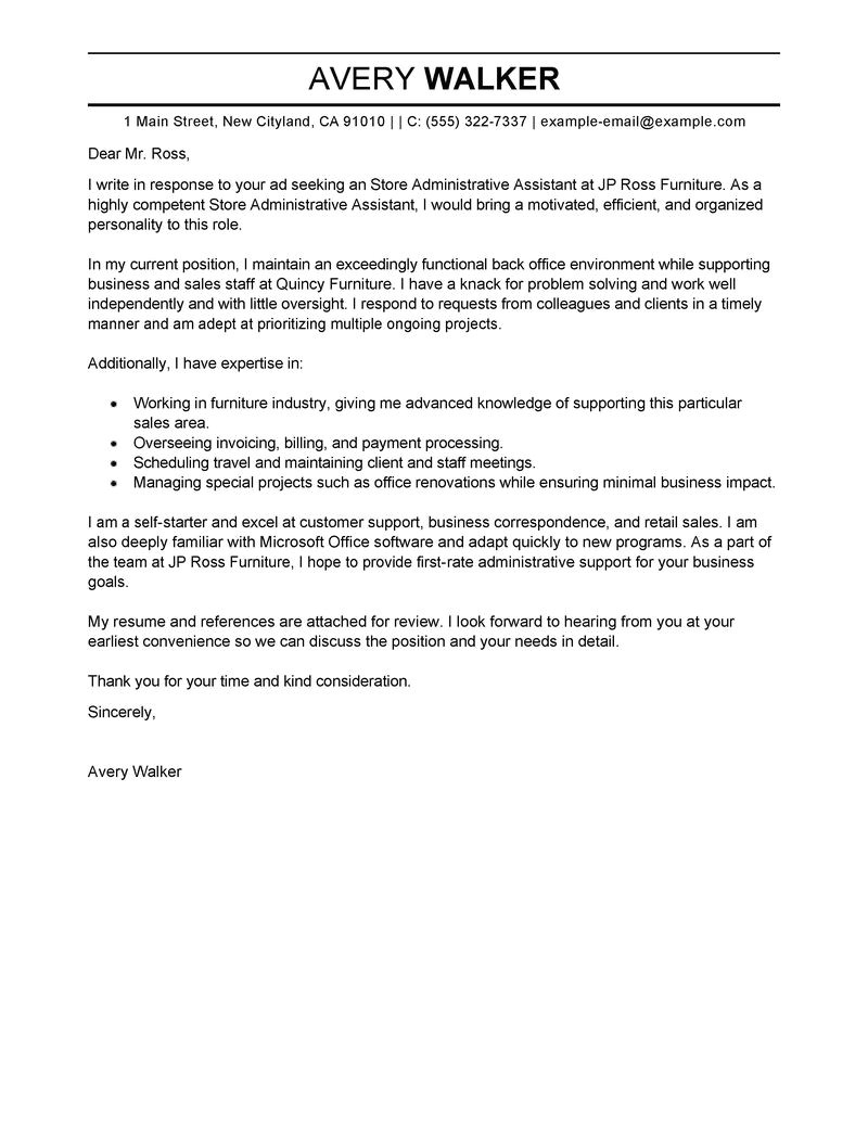 store administrative assistant cover letter sample