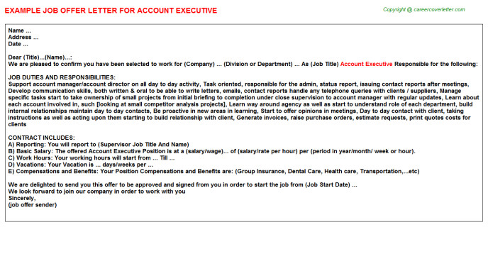 account executive xjd012777