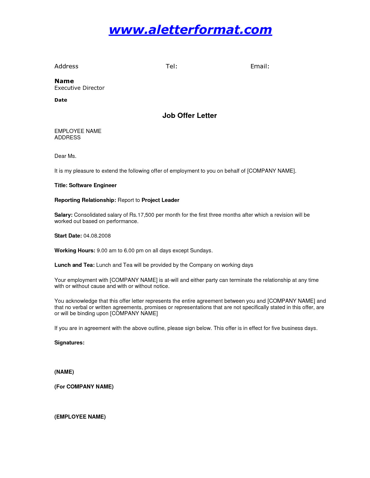 post simple job offer letter template 483803