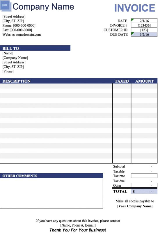 invoice template excel 2