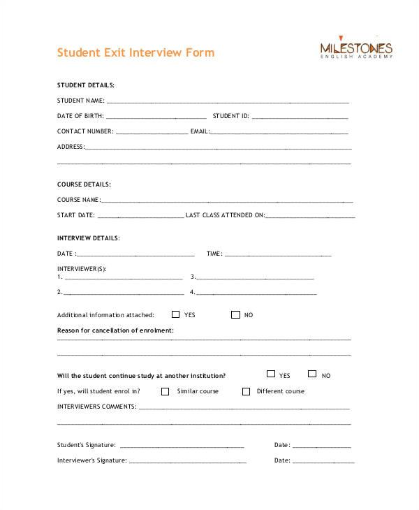 exit interview form templates