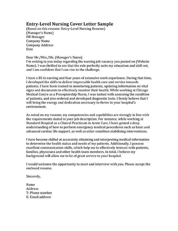 nursing cover letter