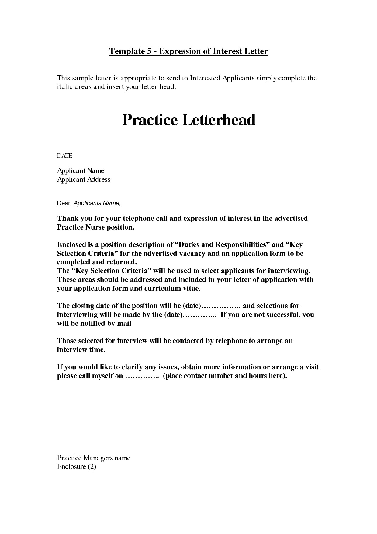 how to write a expression of interest letter cover letter of interest template