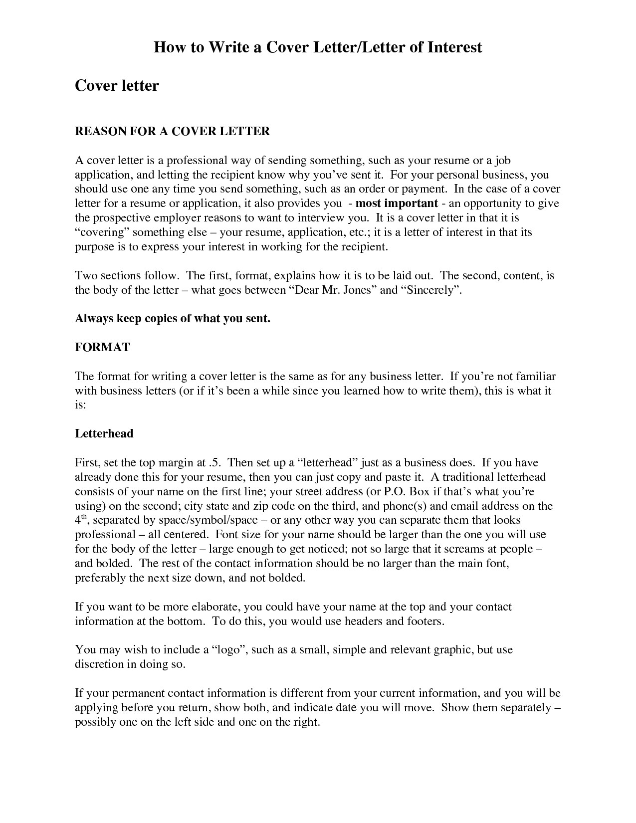 letter of interest cover letter