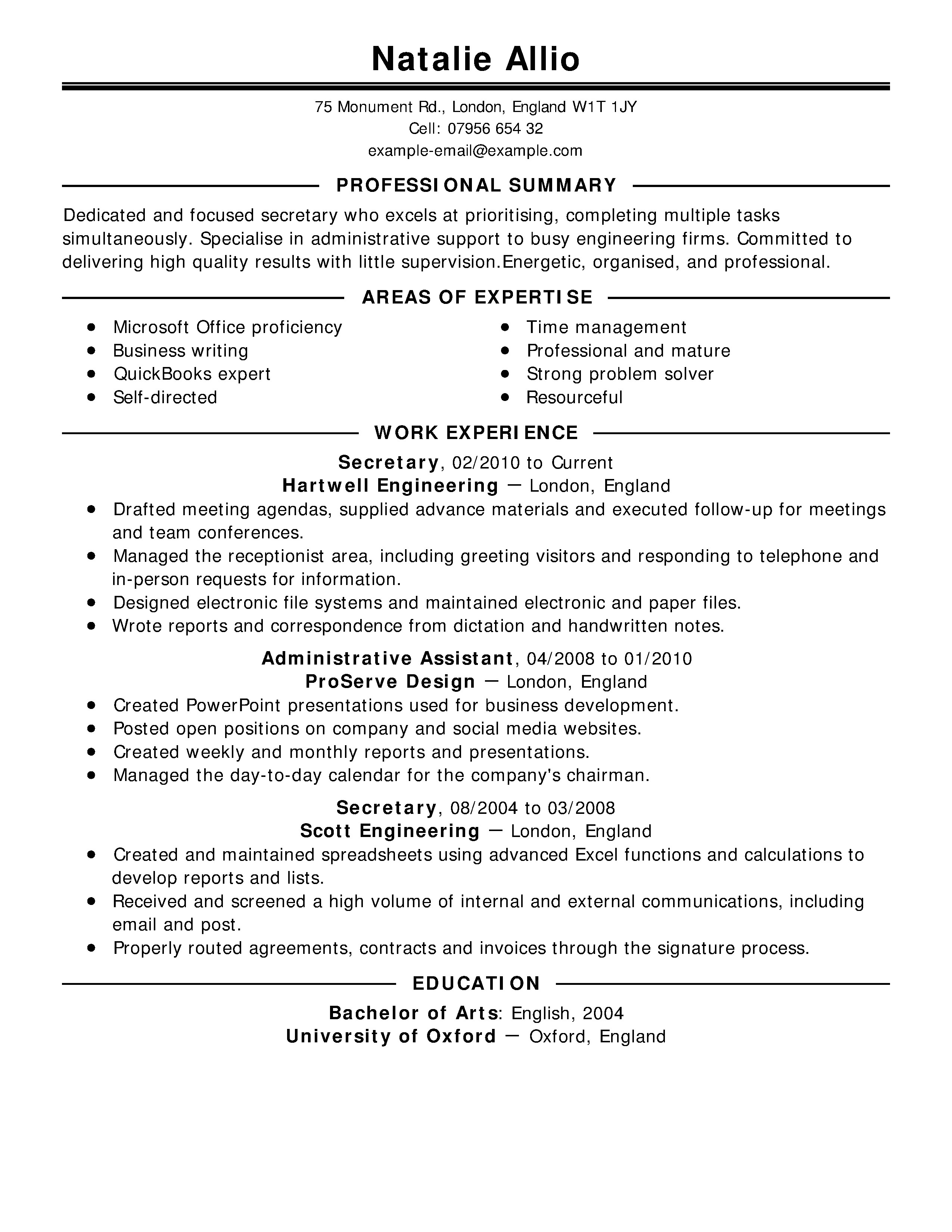 Extensive Resume Sample Free Cv Examples to Get the Job Live Career Uk