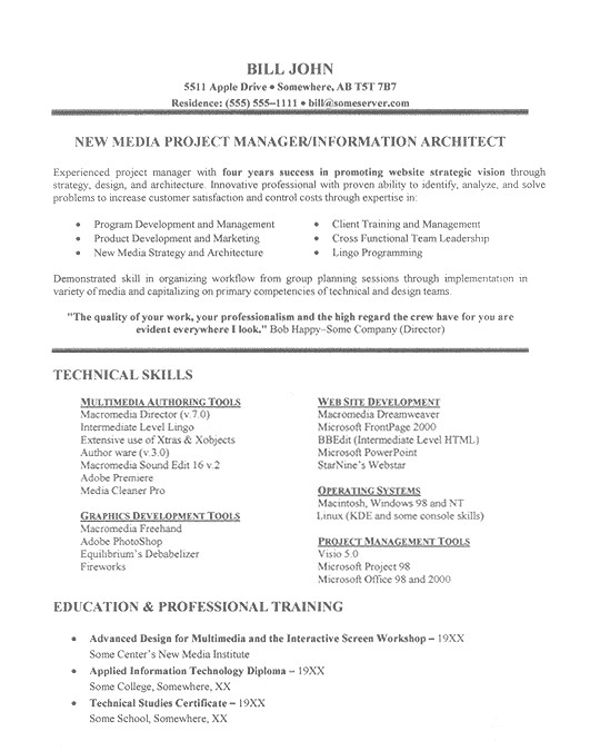 Extensive Resume Sample It Project Manager Resume Example
