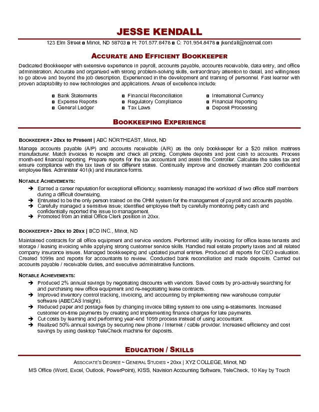 sample resume summary for bookeeper with extensive experience in payrool with list area of expertise