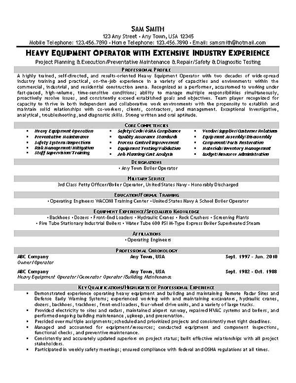 this equipment operator resume sample with extensive industry experience