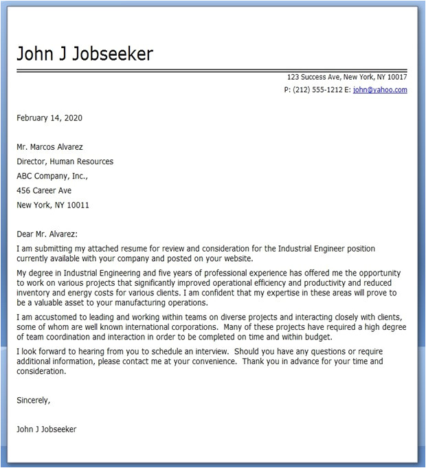 eye catching cover letter