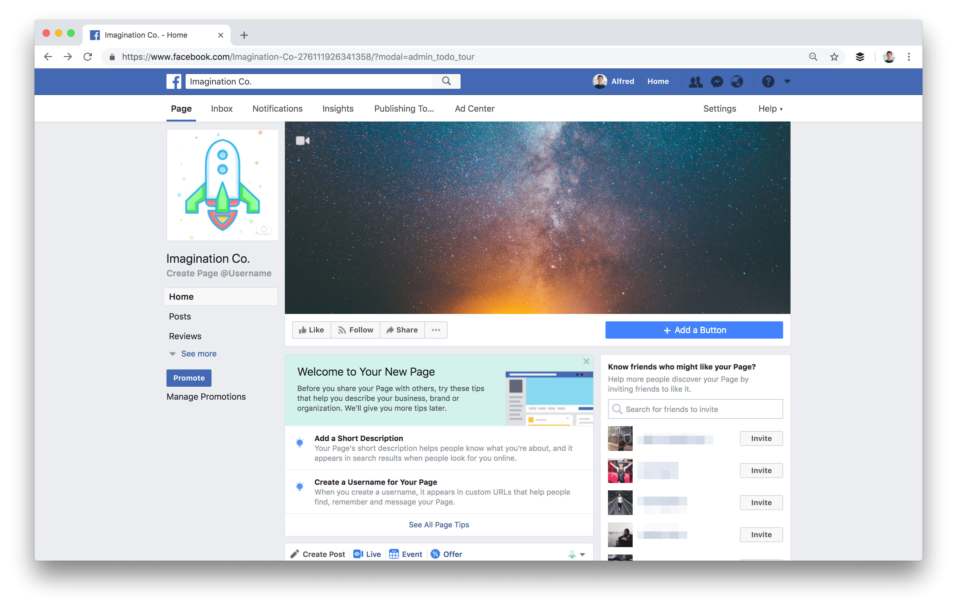 facebook welcome page templates