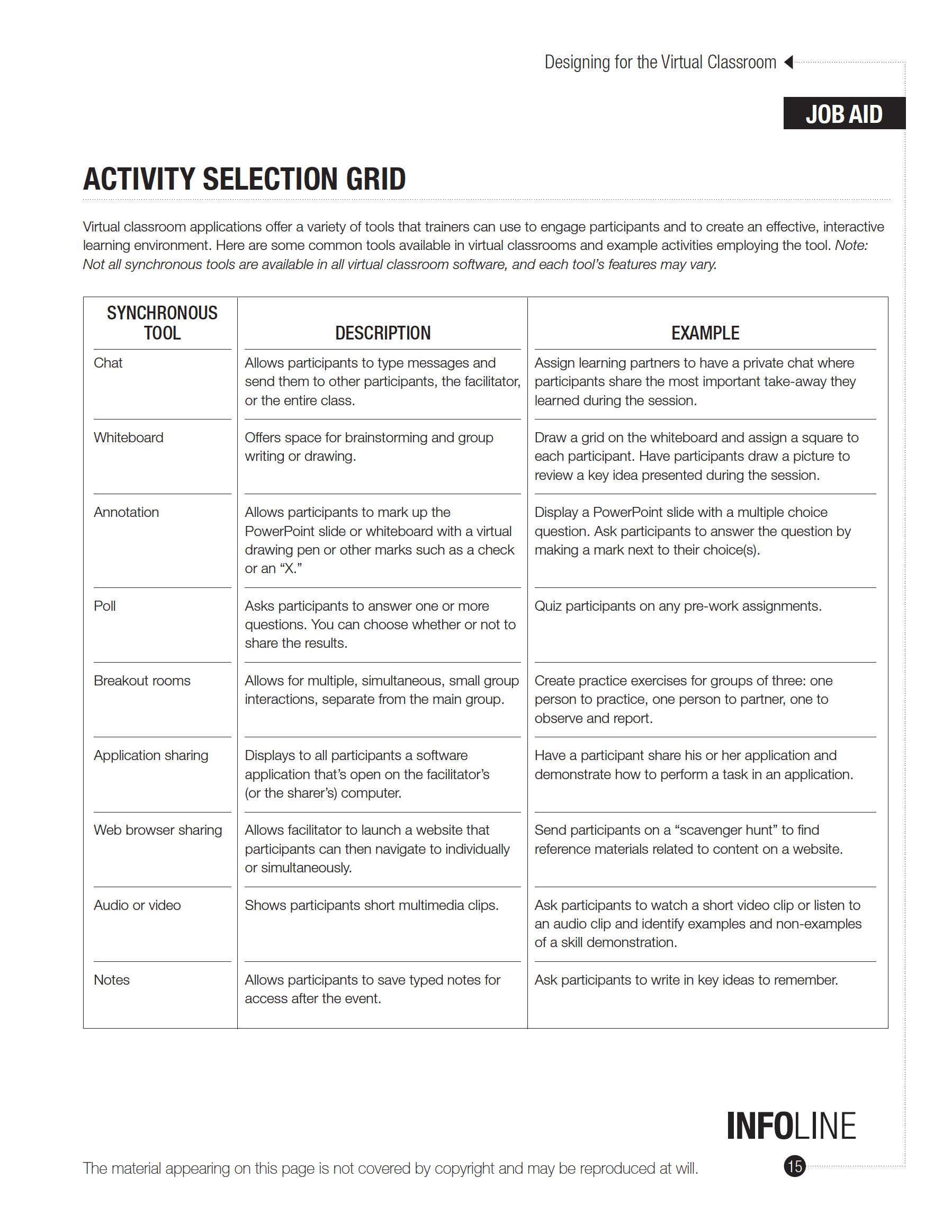 virtual activity selection grid