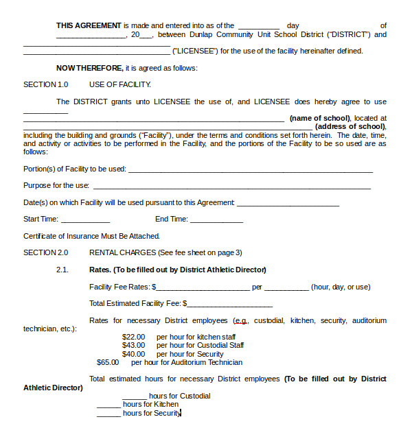 Facilities Management Contract Template 8 Rental Contract Templates Sample Templates