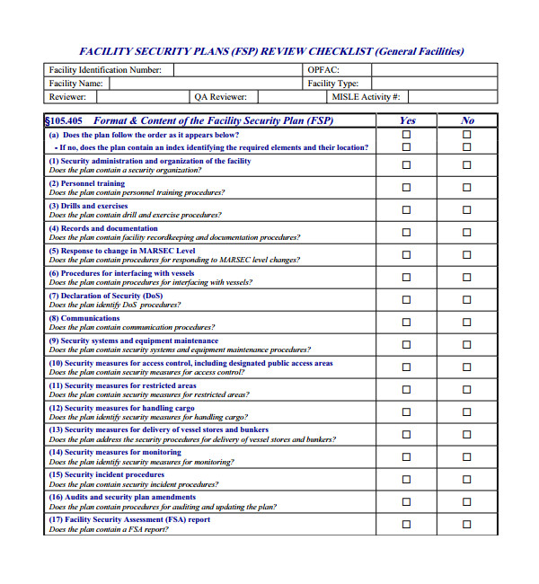Facility Security Plan Template Sample Security Plan Template 10 Free Documents In Pdf