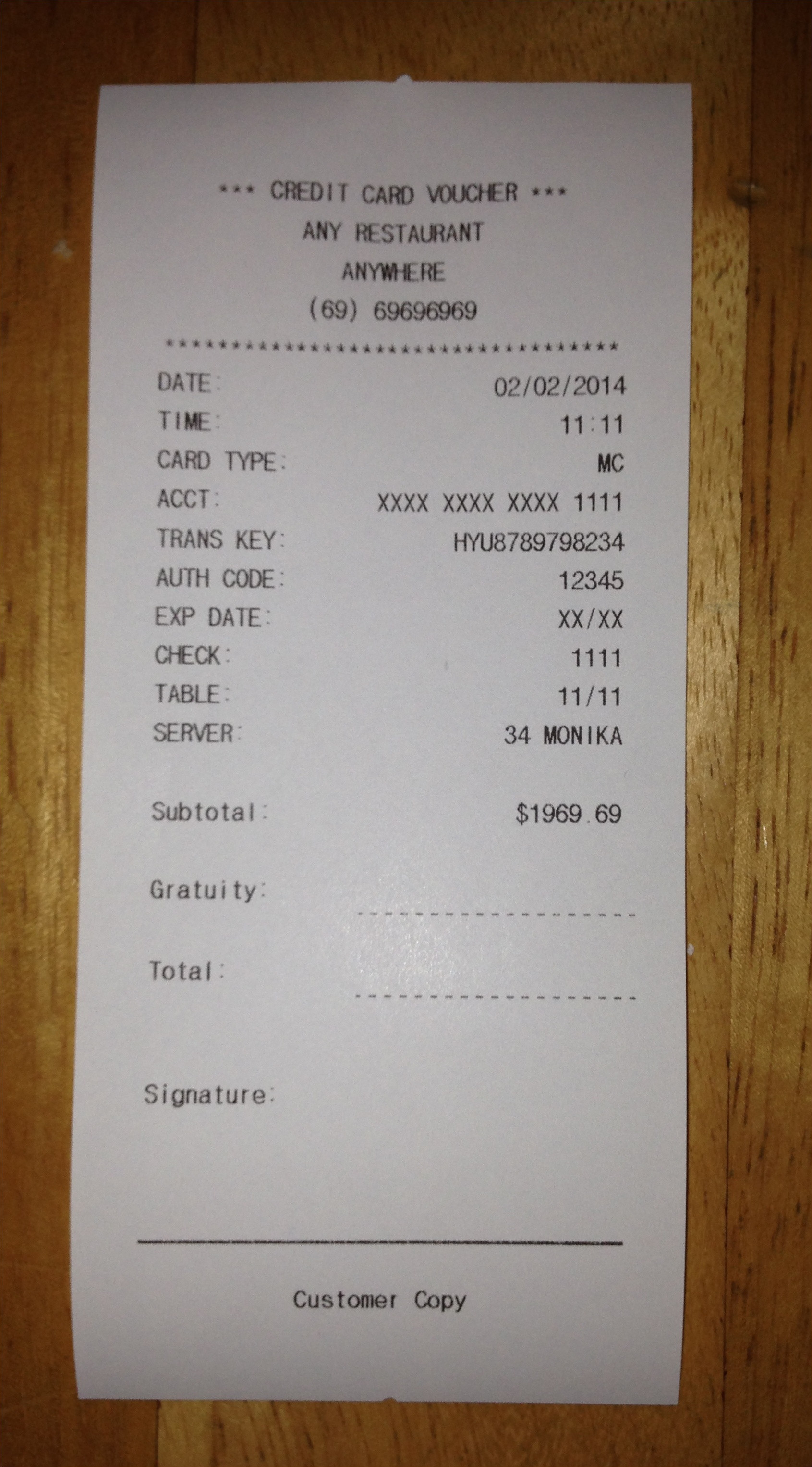Fake Receipts Templates 9 Best Images Of Restaurant Receipt Template Fake