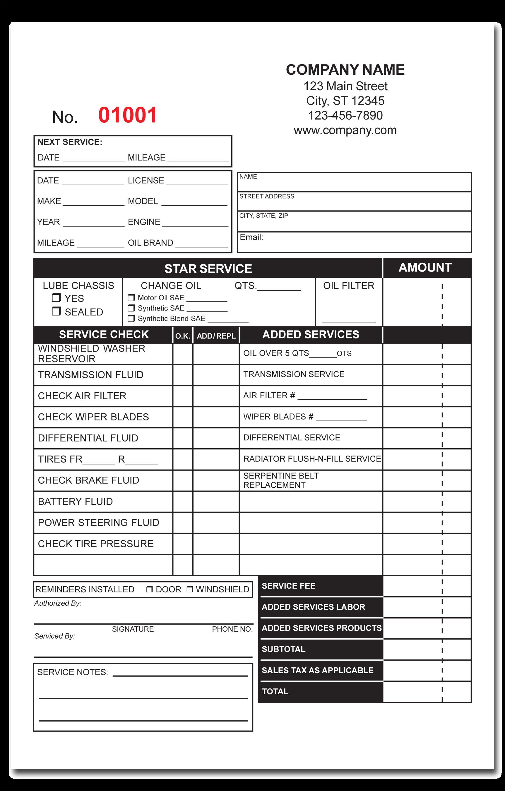 plumbing receipt template