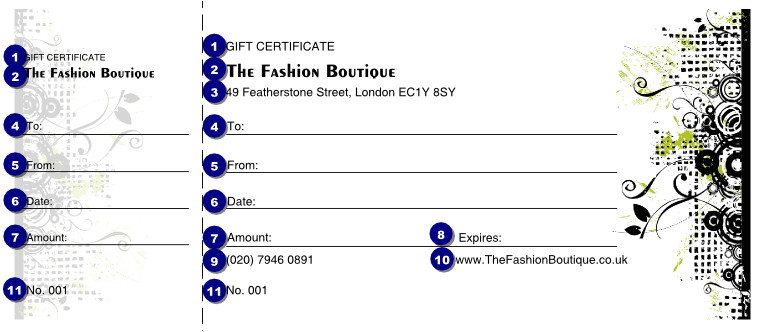 gift certificate template fashion show