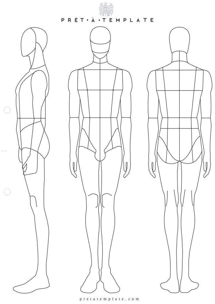 Fashion Sketchbook with Templates Drawn Figurine Man Body Pencil and In Color Drawn