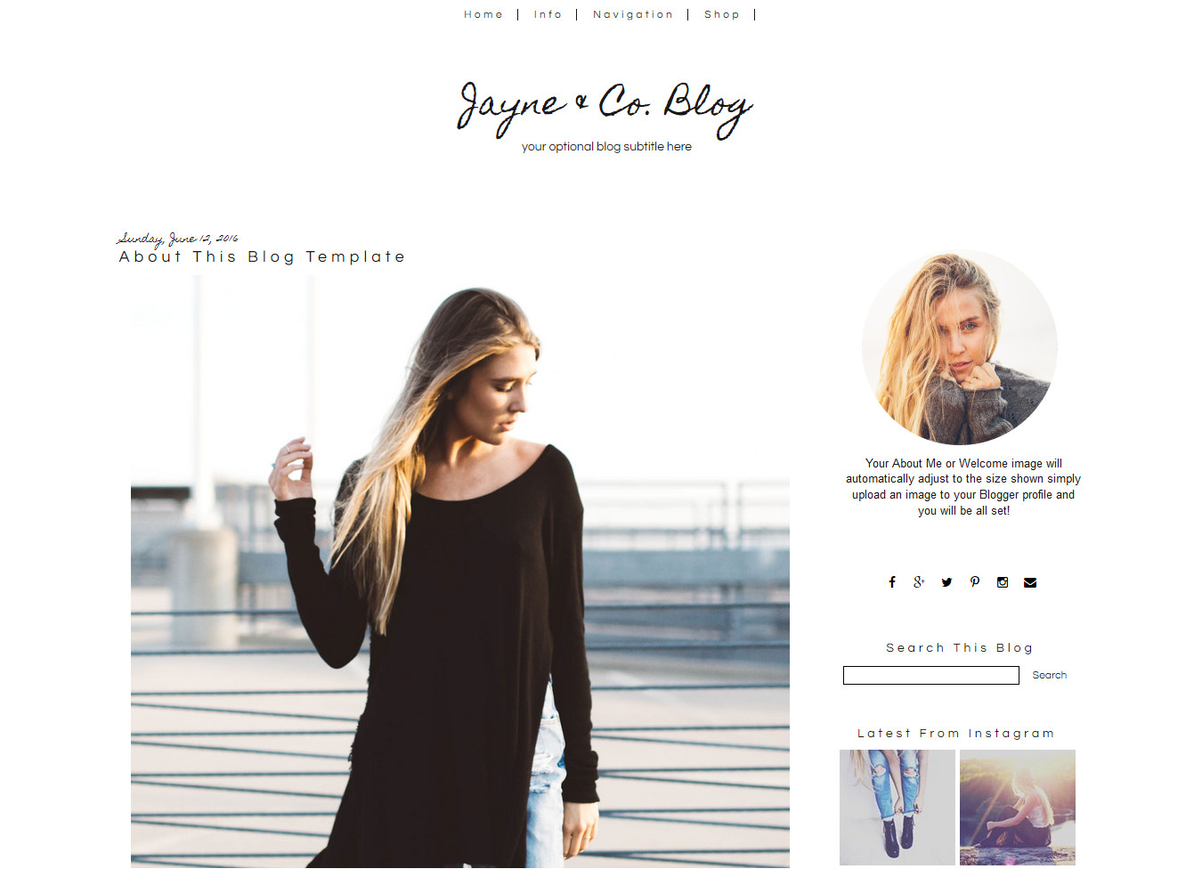 simple blogger template jayne