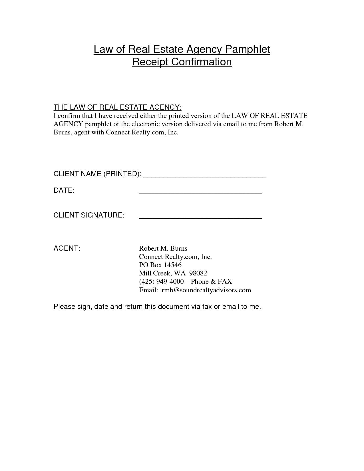 Fax Receipt Confirmation Template Best Photos Of Confirmation Of Receipt Template