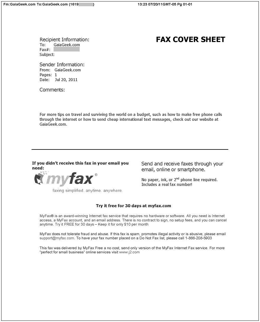fax confirmation sheet