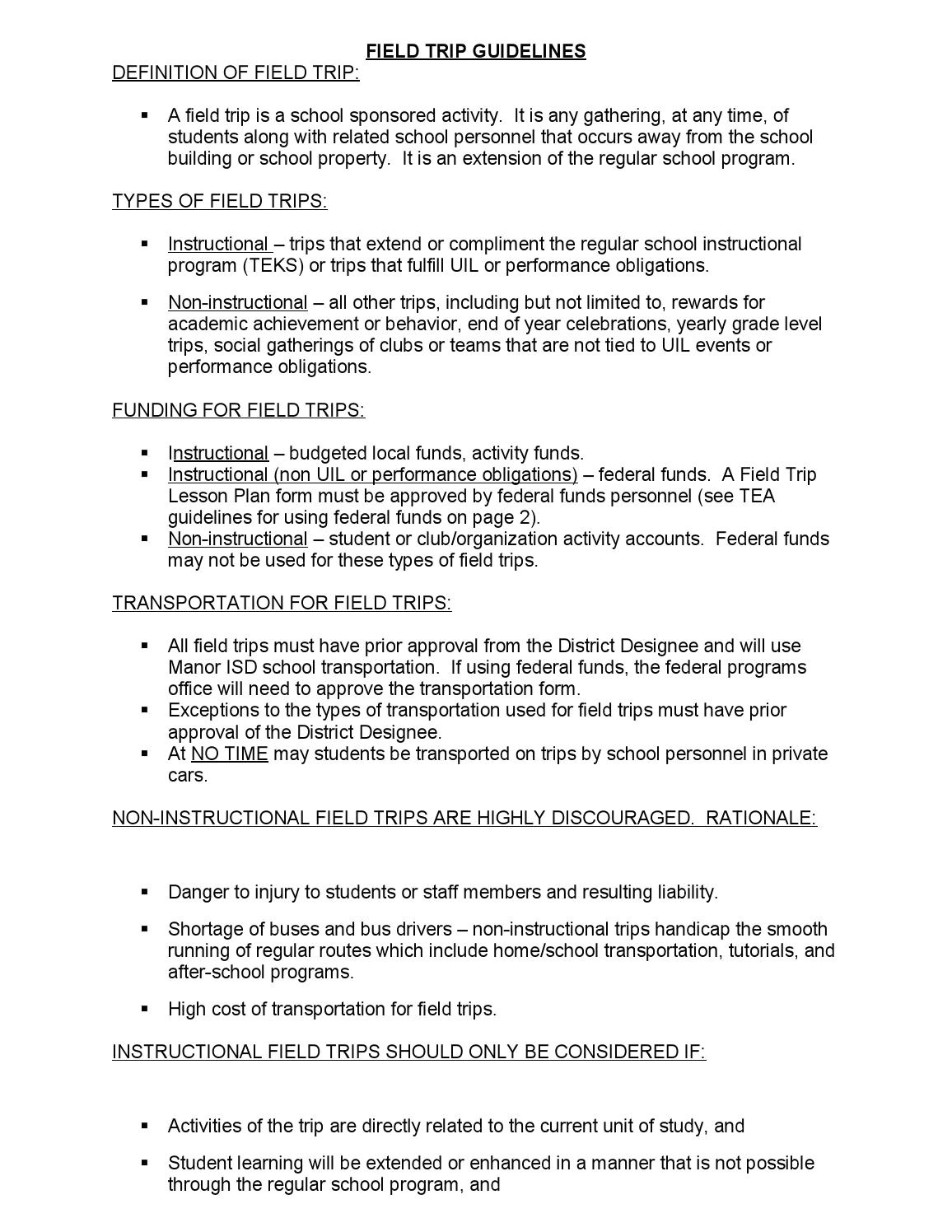 Field Trip Lesson Plan Template Field Trip Guidelines and Lesson Plan form 1 by Manor