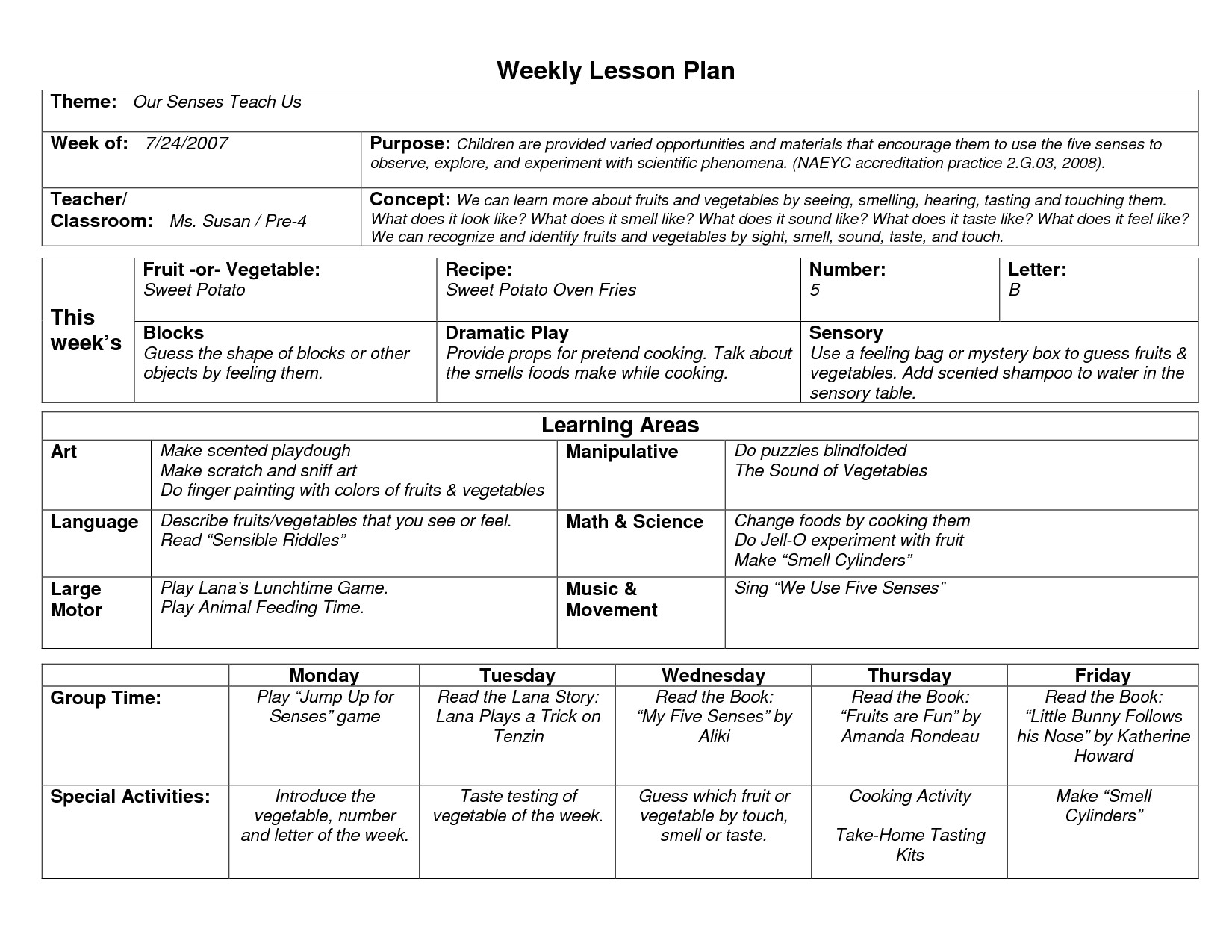 Field Trip Lesson Plan Template Sample toddler Lesson Plan Template Preschool Lesson
