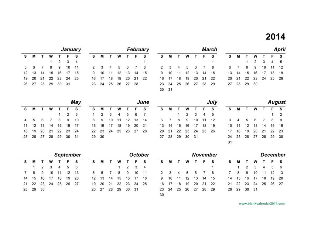 post full 2014 year calendar template 35423