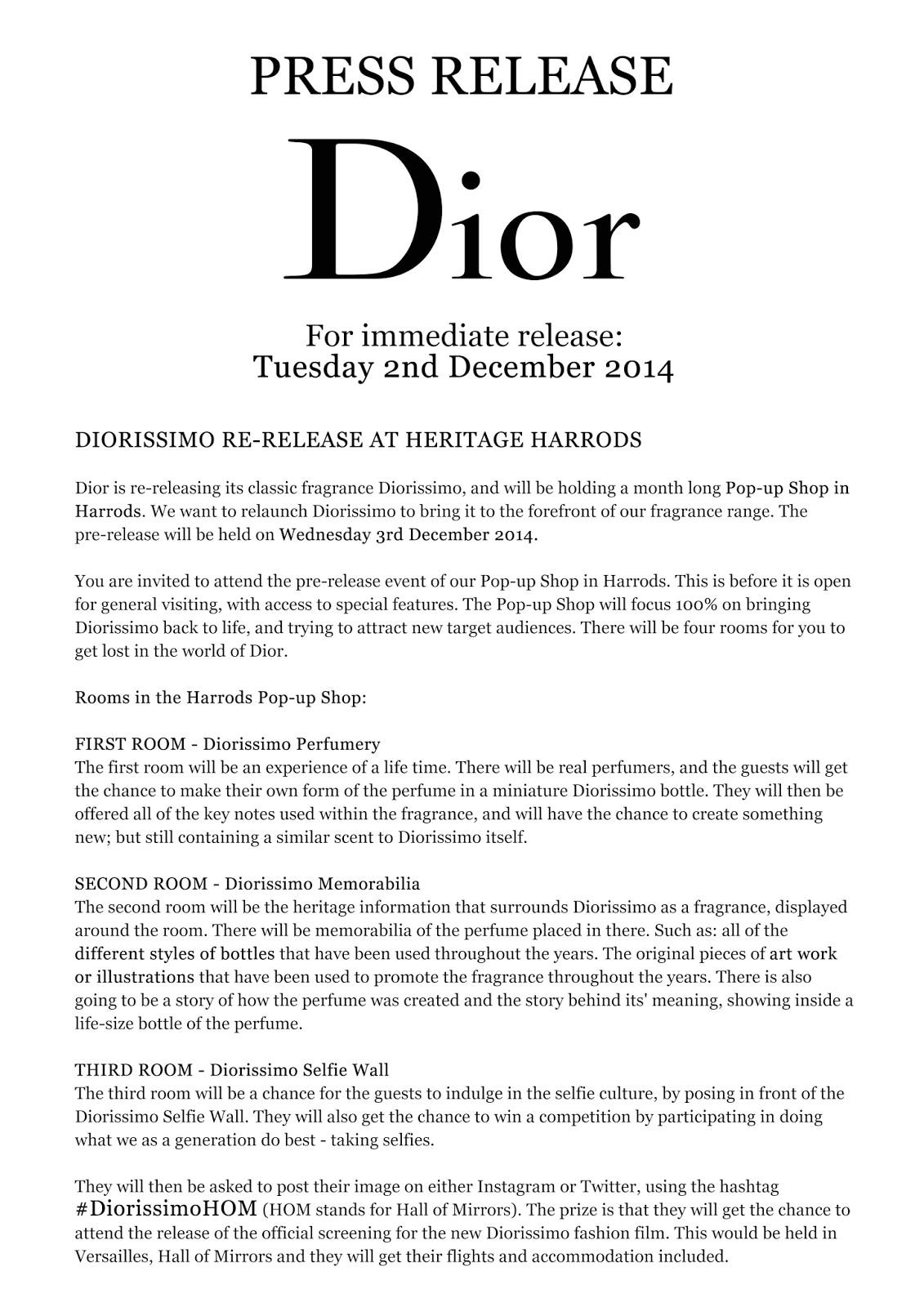 press release diorissimo fashion film