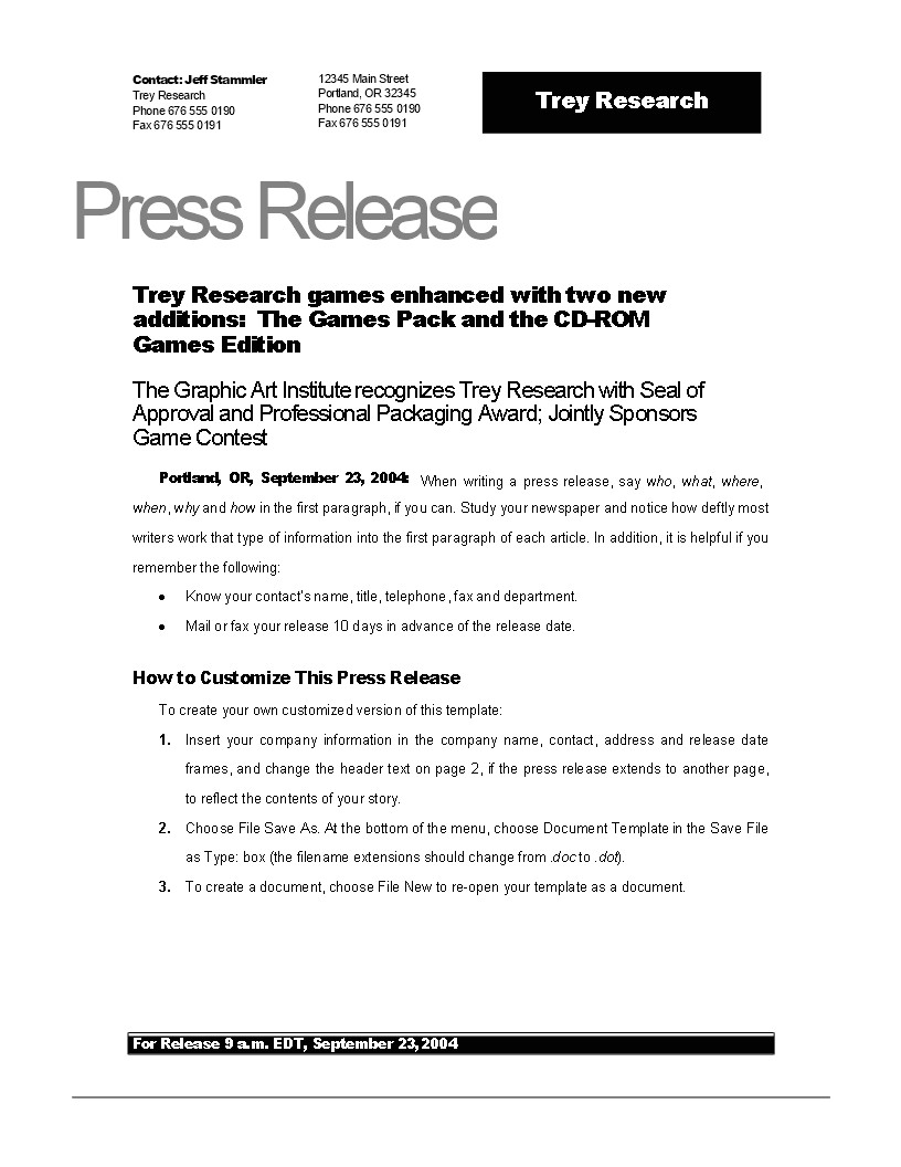 press release example new game