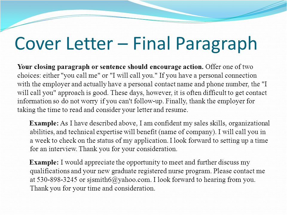 cover letter conclusion examples