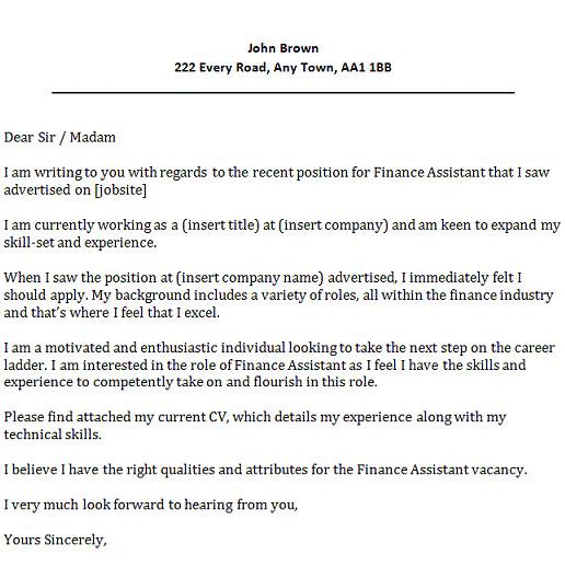 Finance assistant Cover Letter Samples Finance assistant Cover Letter Example Icover org Uk