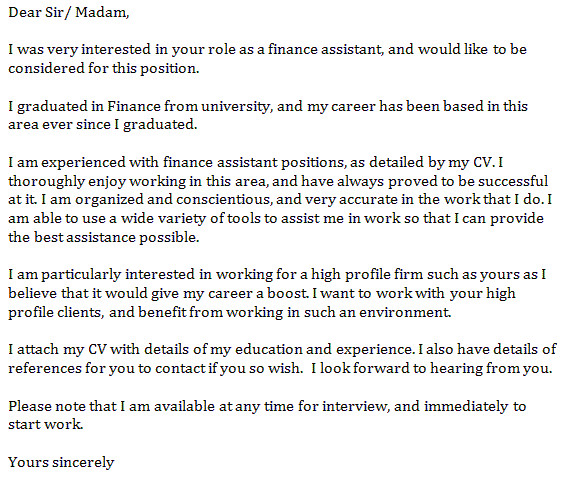 finance assistant cover letter example