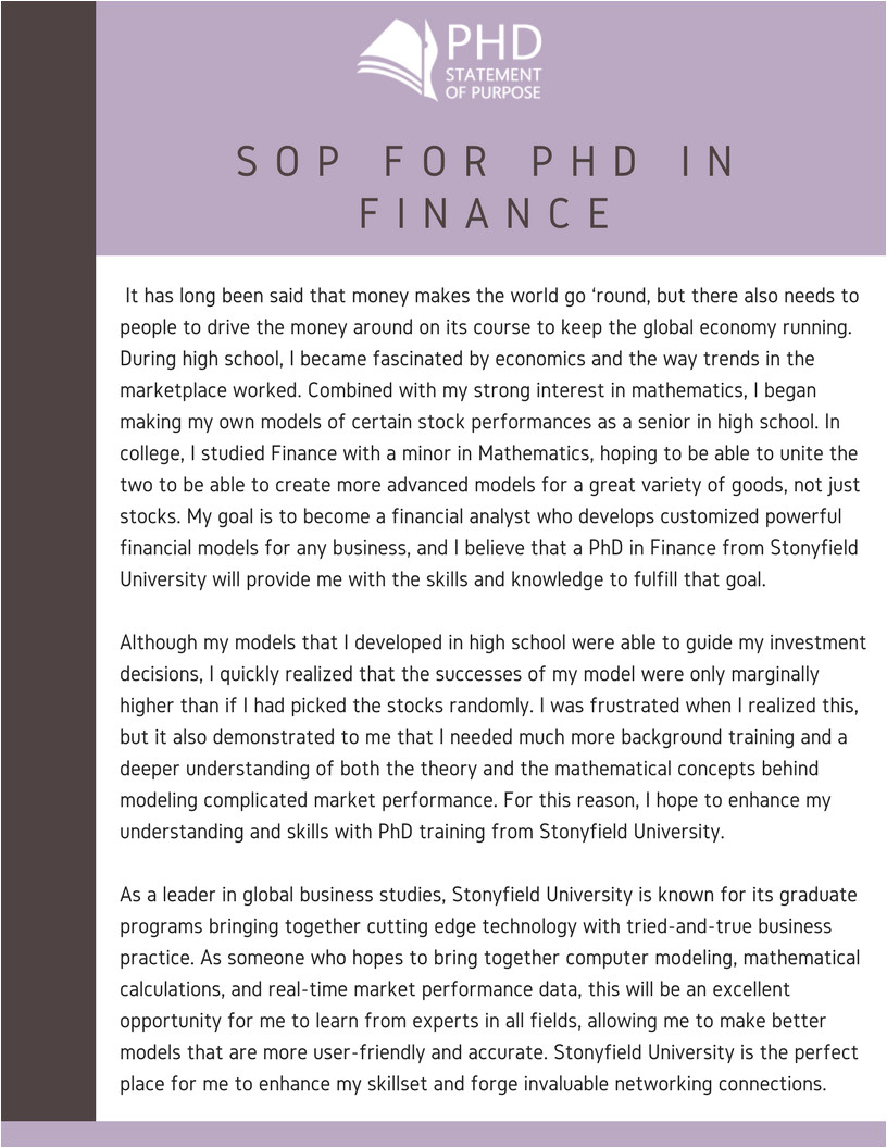 best 5 tips for writing statement of purpose for phd in finance