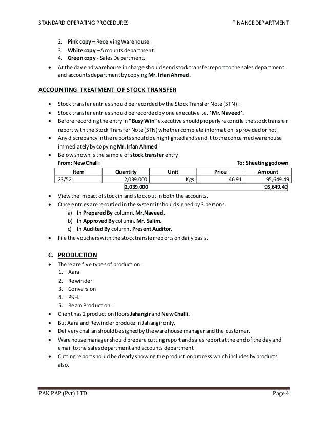 standard operating procedures template word fresh warehouse procedure examples