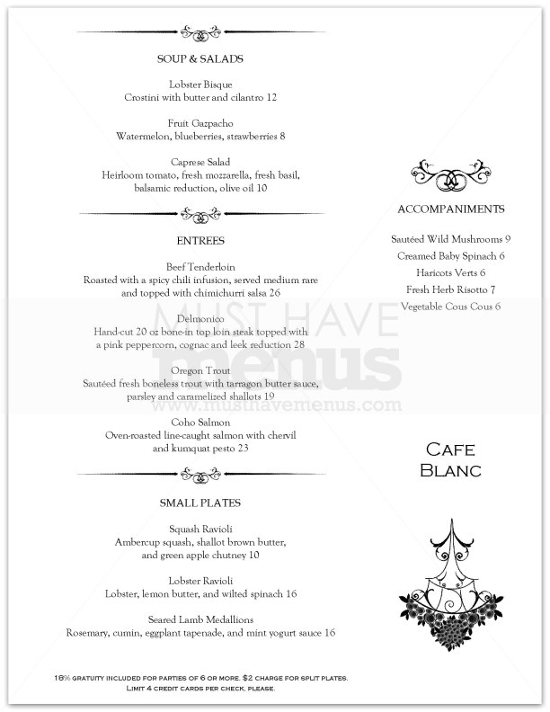collectionfdwn fancy restaurant menu template