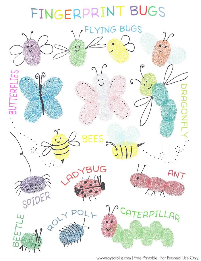 Fingerprint Template for Kids Bugs Fingerprint Art Free Printable Guide Kids Art Project