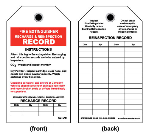 fire extinguisher inspection tag front fire extinguisher recharge inspection record card sto