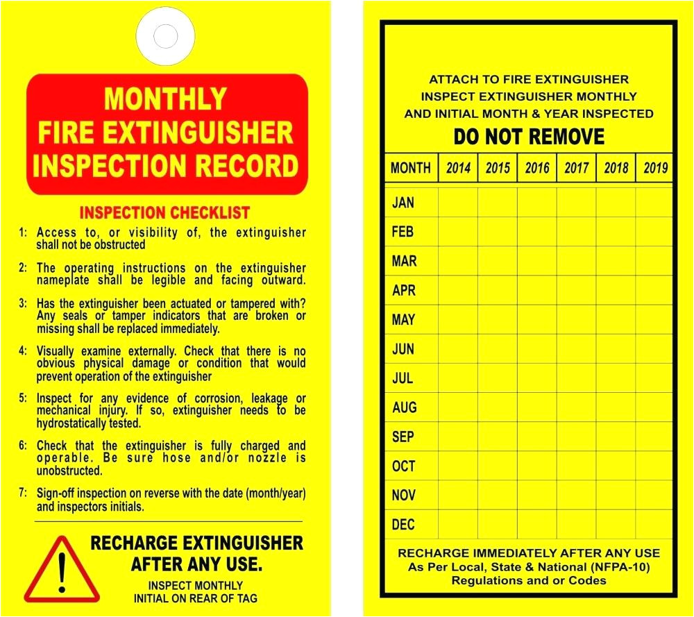 fire extinguisher inspection tag template monthly record tags pdf
