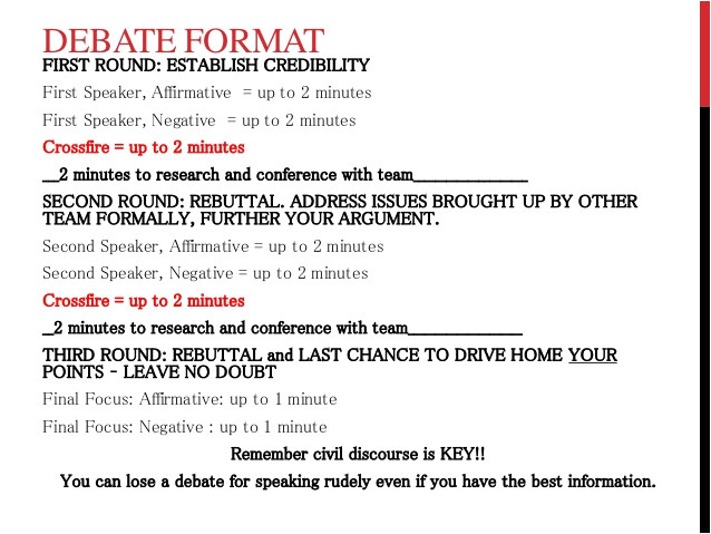 debate notes and format w rubric