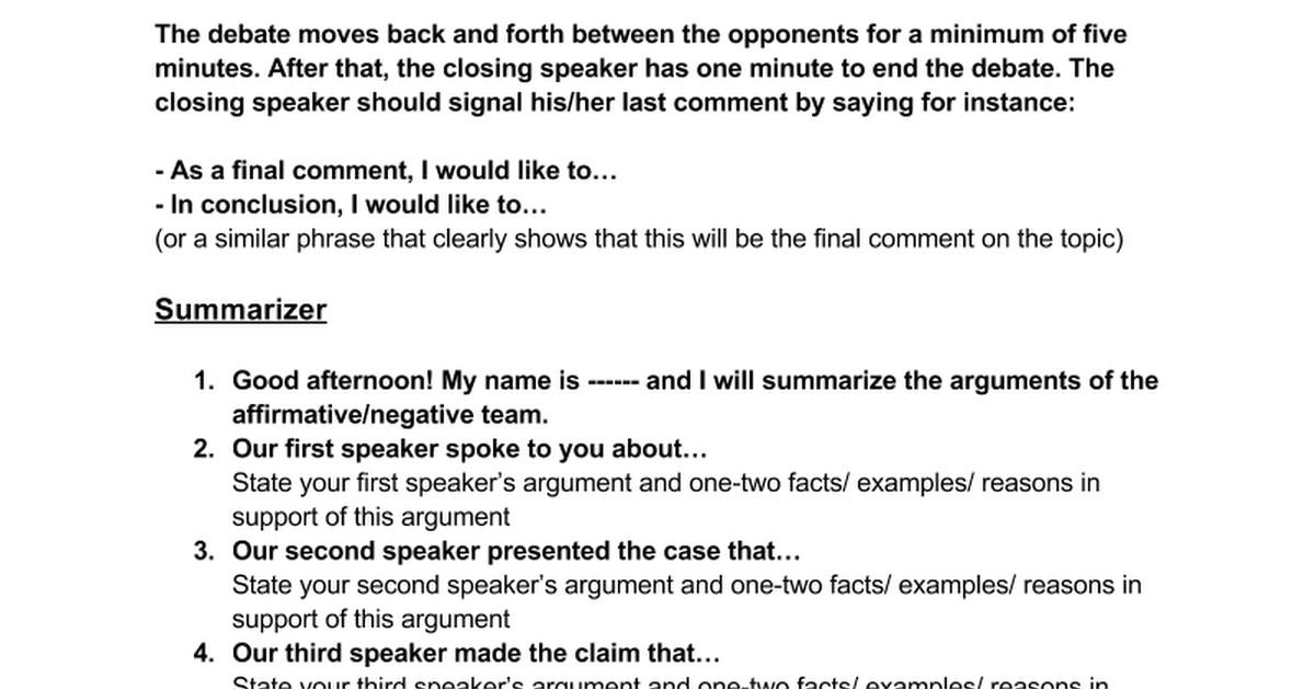first speaker debate template