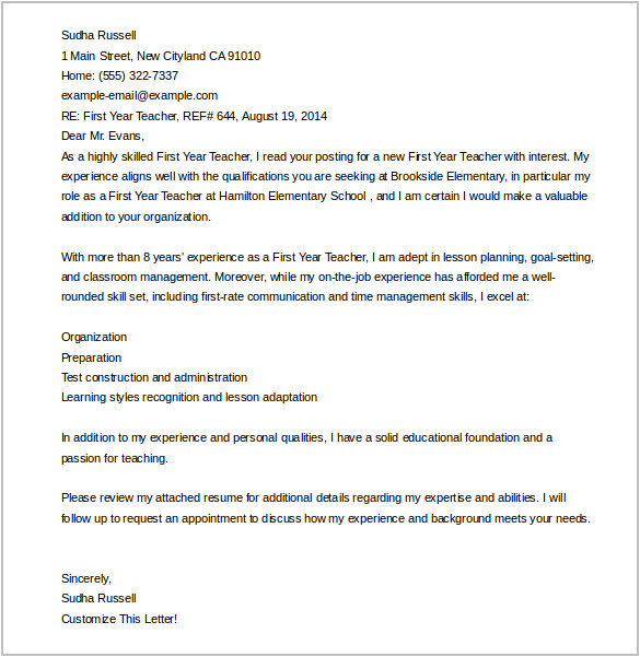 First Year Teacher Cover Letter Examples Cover Letter Template 20 Free Word Pdf Documents