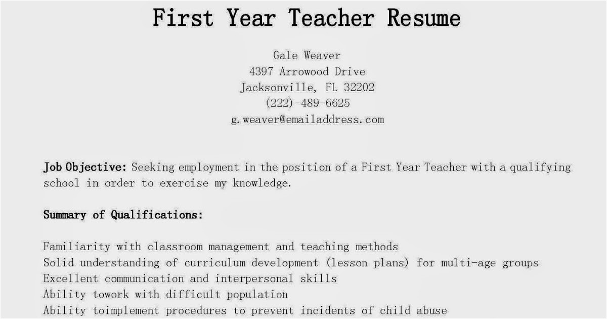 first year elementary teacher resume