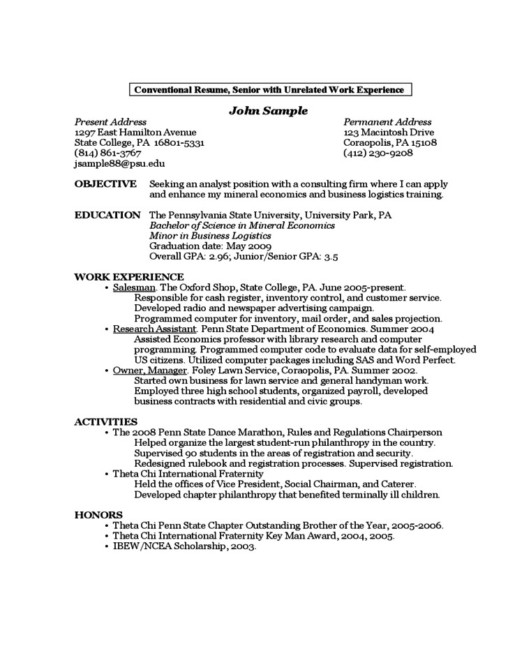 free sample resume by a first year student