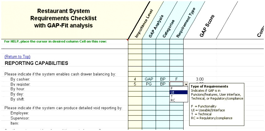 fit gap analysis template excel