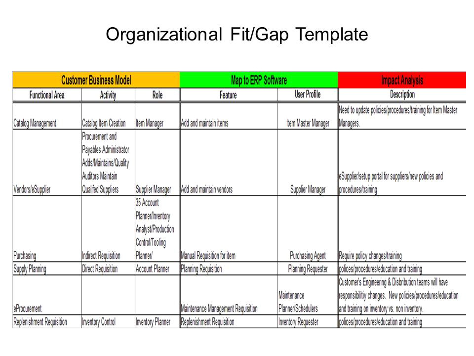 erp org fit gap