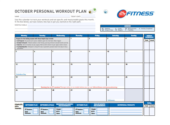 sample workout schedule