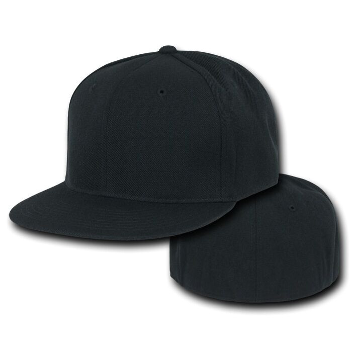 Fitted Hat Template Black Fitted Flat Bill Plain solid Blank Baseball Ball Cap